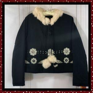 Manoush Cropped Black Embellished Boho Jacket